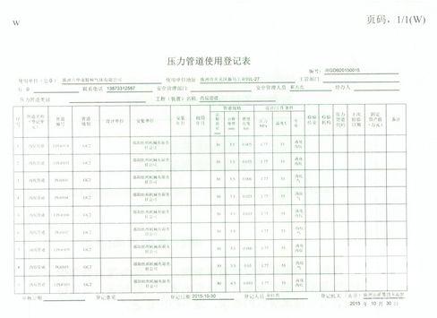 压力容器使用登记表(特种设备使用登记证背面)